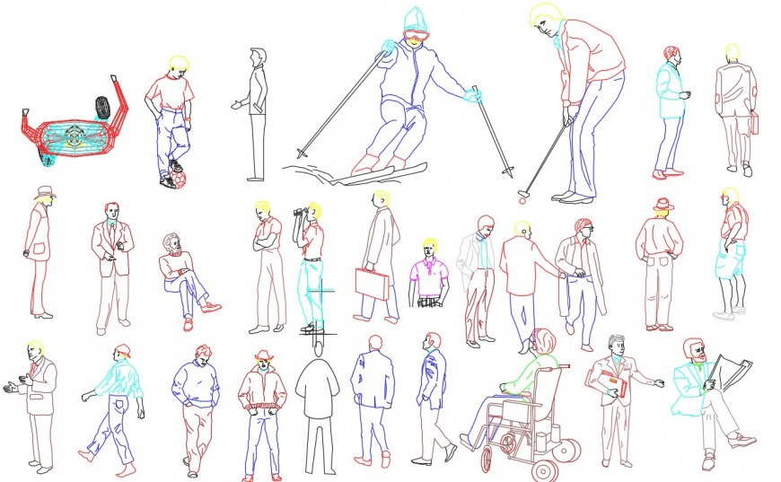 All types of postures of people cad block