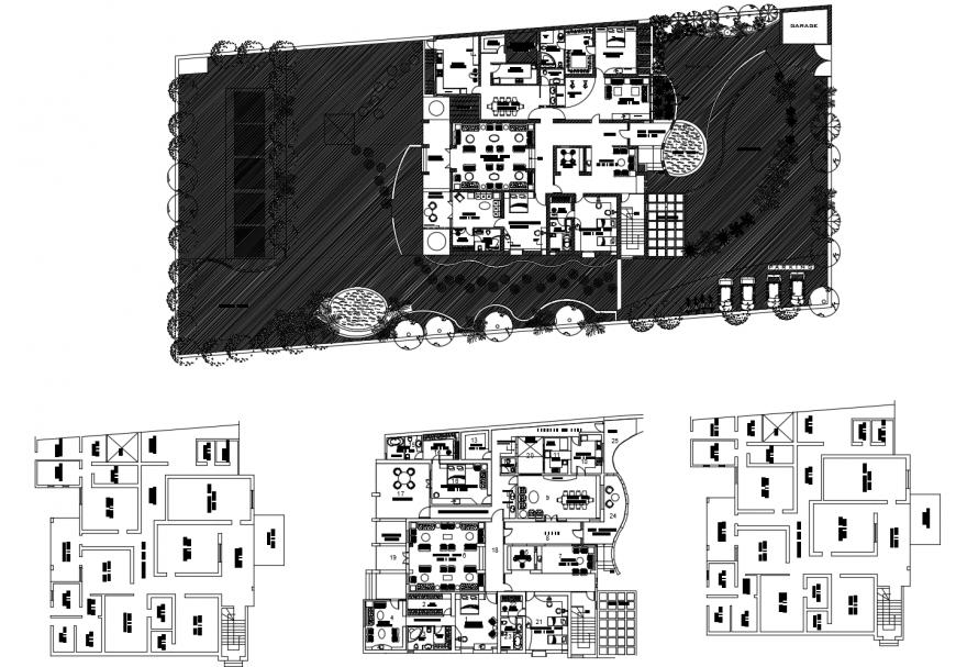 Alternative hotel floor plan in auto cad file