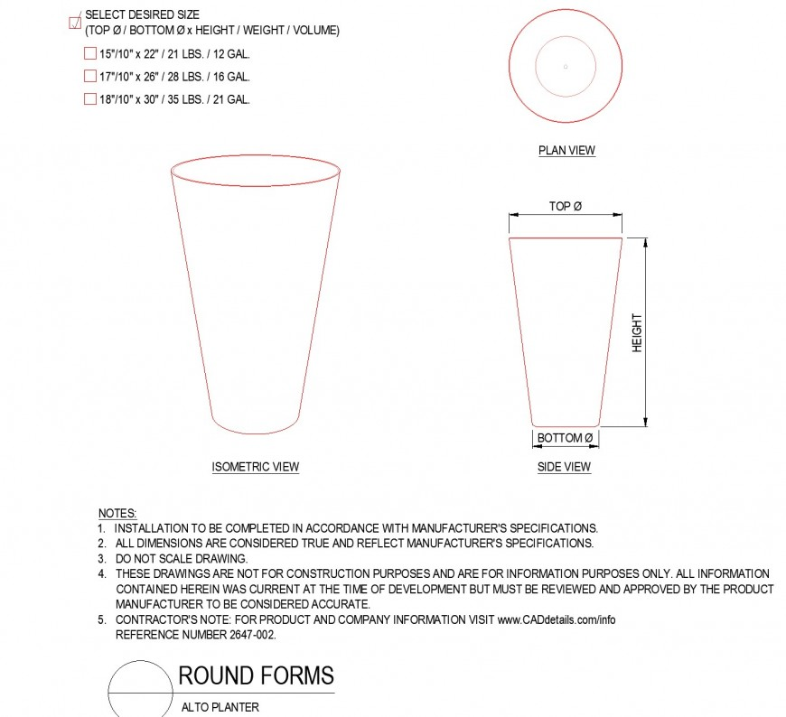 Alto planter round forms layout file