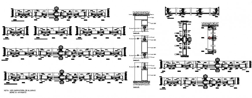 Aluminium door car pantry series and installation cad drawing details dwg file