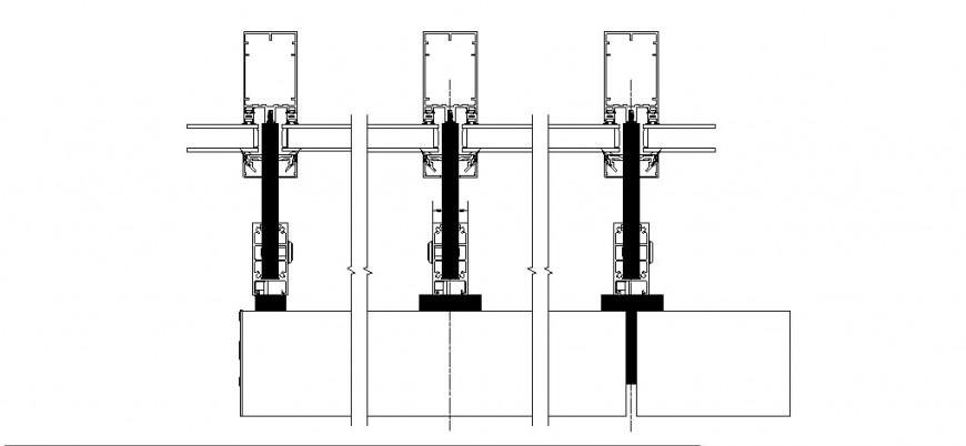 Aluminium door coupling design cad drawing details pdf file