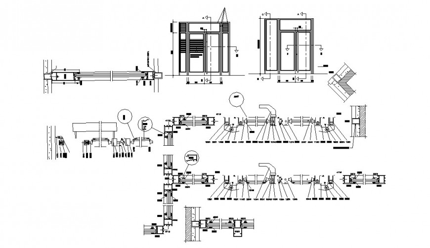 Aluminium door elevation, section and installation cad drawing details dwg file
