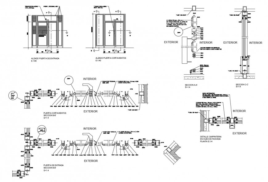 Aluminium door elevation and installation cad drawing details dwg file