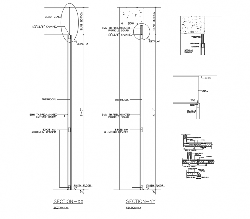 Aluminium door section and installation drawing details dwg file