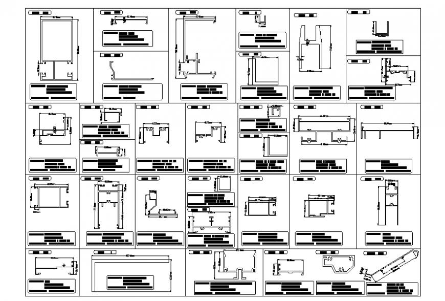 Aluminum casement window section detail AutoCAD file