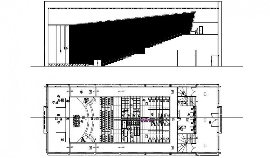 Amelia multiplex theater section and distribution plan cad drawing details dwg file