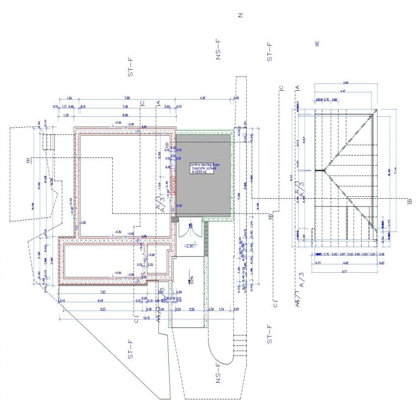 American house plan in dwg file.