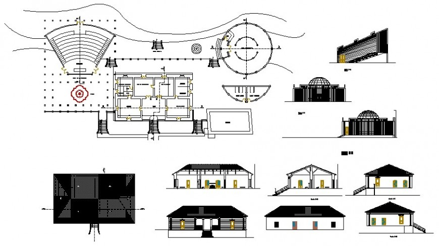Amphitheater detail drawing with plan and elevation in AutoCAD file.