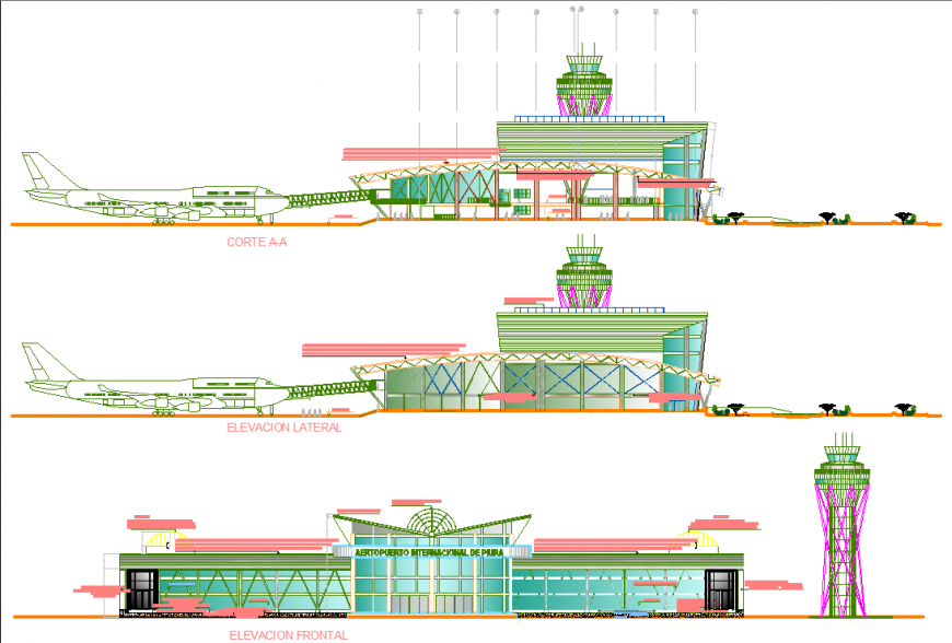 An airport plan with a detail dwg file.