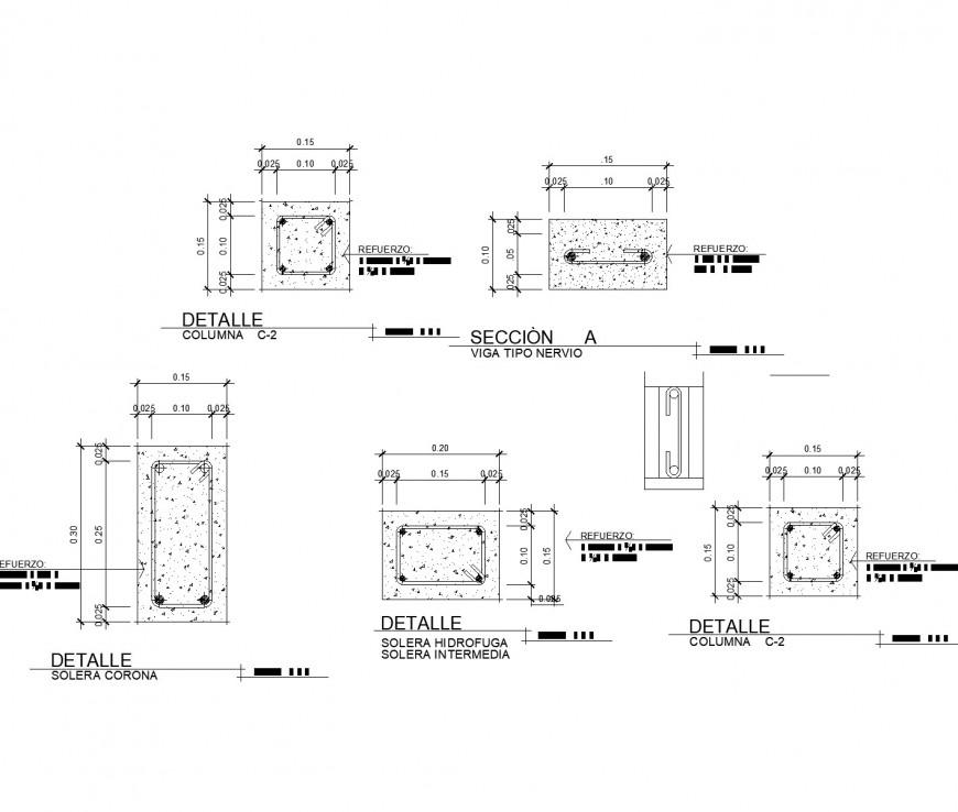 Anchor and column section plan dwg file
