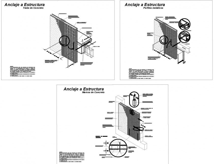 Anchorage to structure section plan autocad file