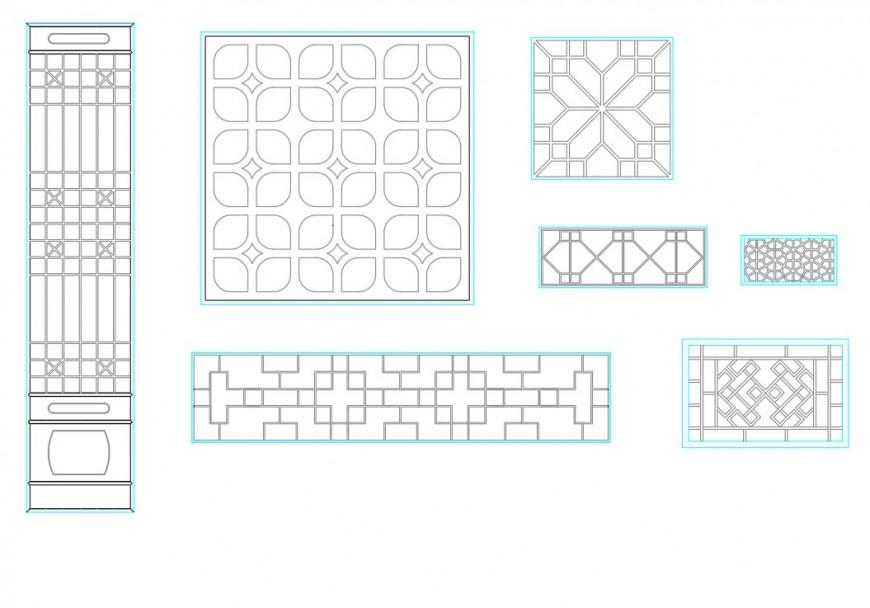 Ancient windows CAD block detail dwg file