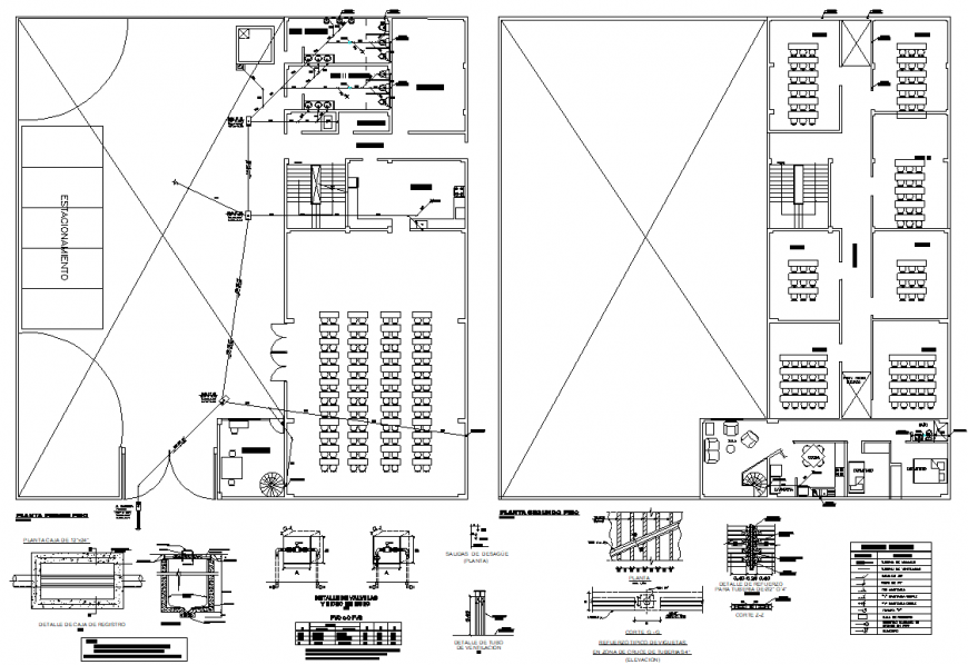 Anitary facilities in a chapel plan and section autocad file