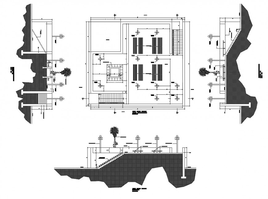 Annex park plan elevation and side view in auto cad