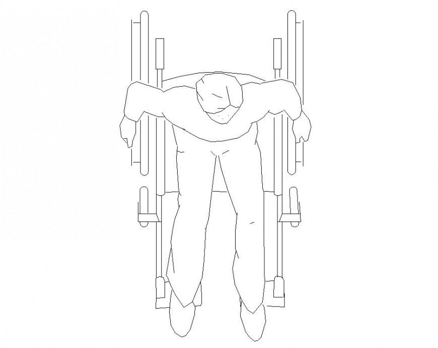 Anthropometry drawing of person in wheel chair in dwg file.