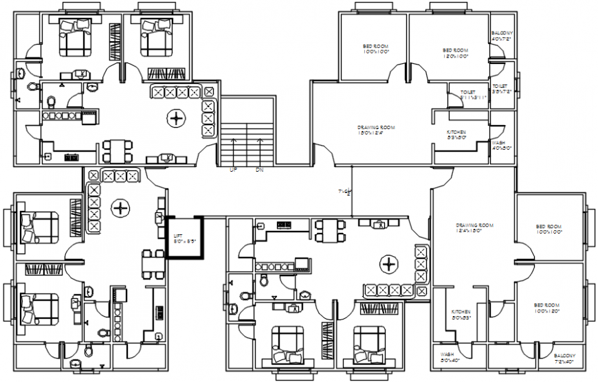 Apartment building block floor distribution plan cad drawing details dwg file