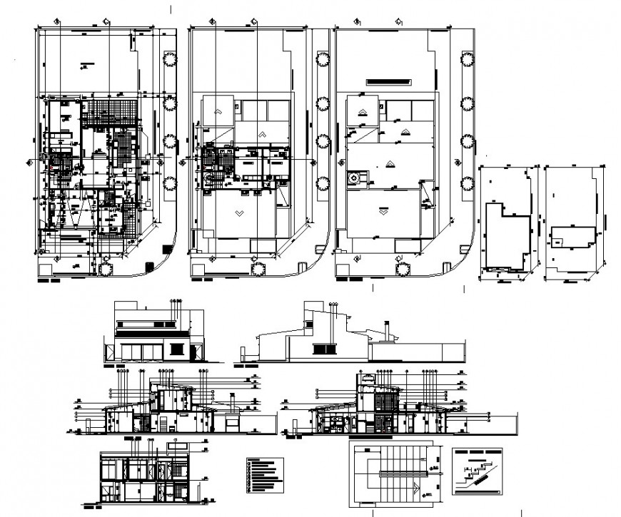 Apartment building detail 2d view plan, elevation and section layout dwg file