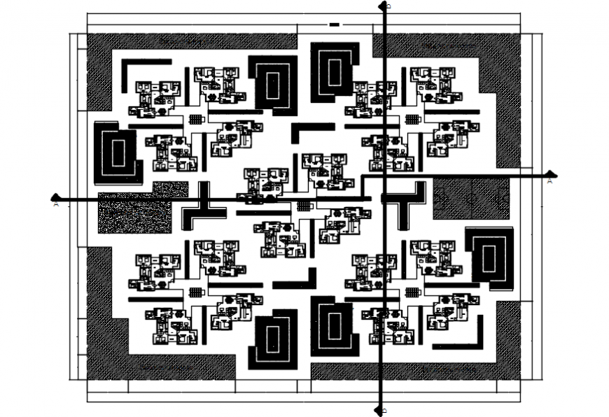 Apartment building distribution layout plan cad drawing details dwg file