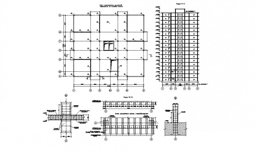 Apartment building elevation, constructive section and structure details dwg file