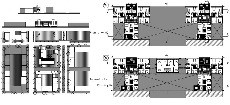 Apartment building elevation, distribution plan and auto-cad details dwg file