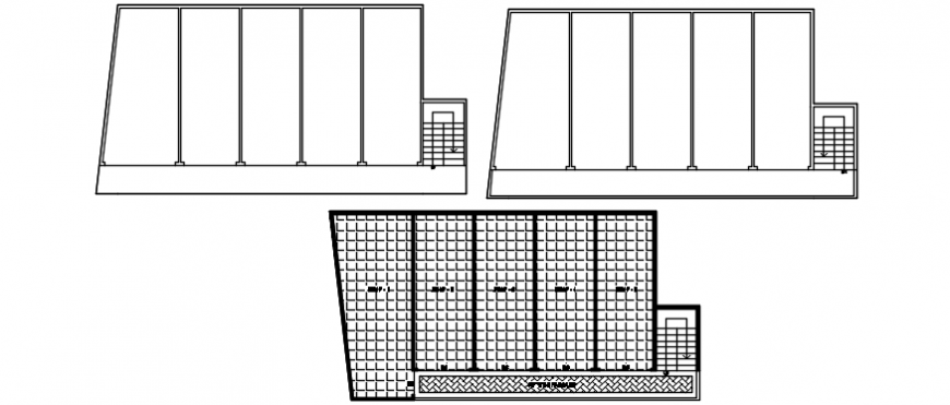 Apartment building floor cover plan with structure details dwg file