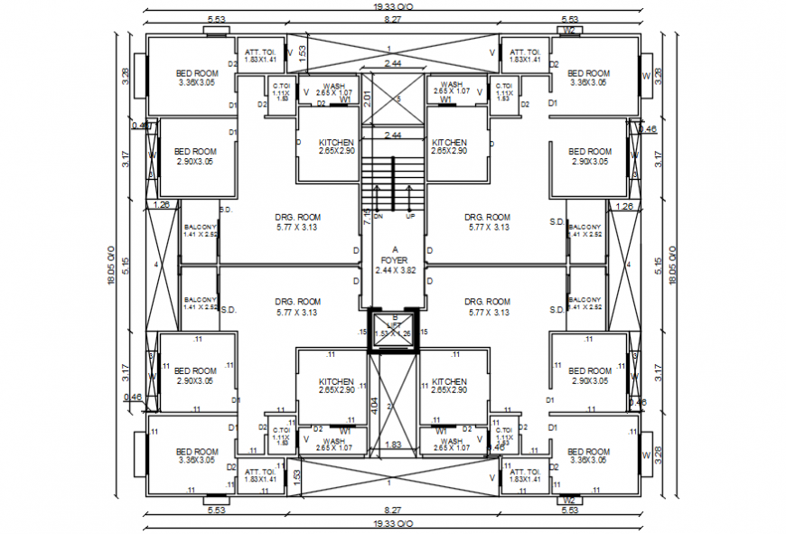 Apartment building floor distribution layout plan 2d drawing details dwg file