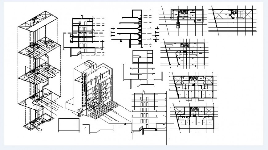 Apartment building isometric elevations, sections and floor plan cad drawing details dwg file