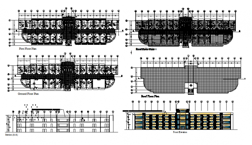 Apartment building main elevation, section, ground, first, second and roof plan details dwg file