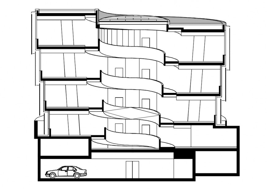 Apartment building multi-level main elevation cad drawing details dwg file