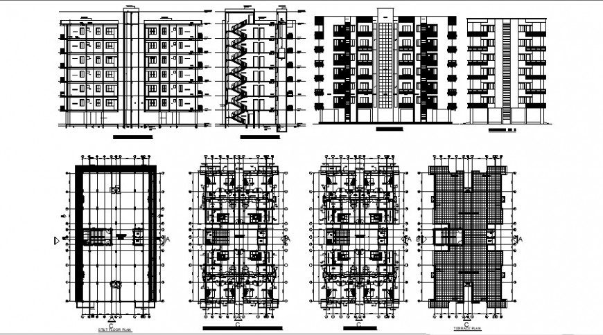 Apartment building multi-story elevation, section, floor and terrace plan drawing details dwg file