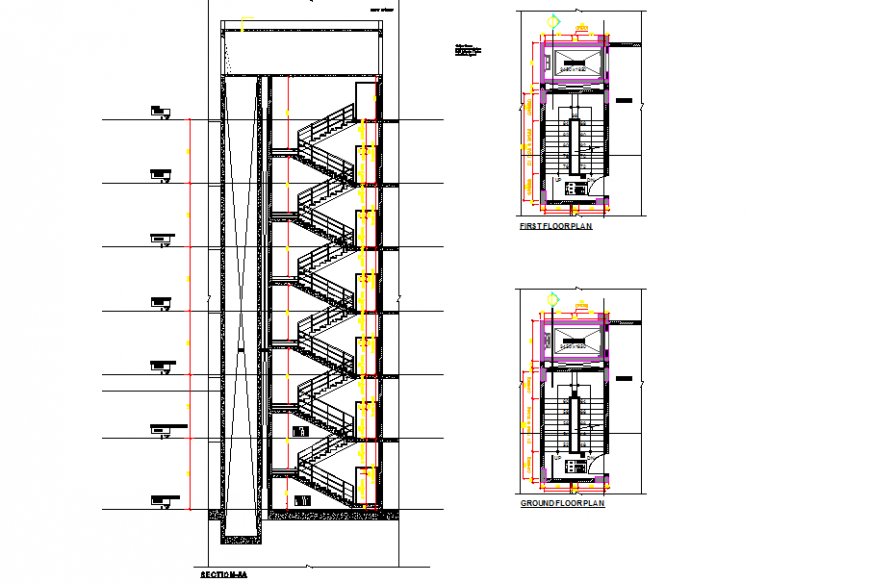 Apartment building section detail drawing in dwg file.