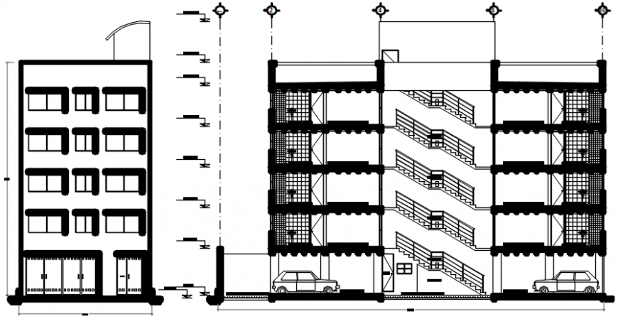 Apartment building side elevation and main section drawing details dwg file