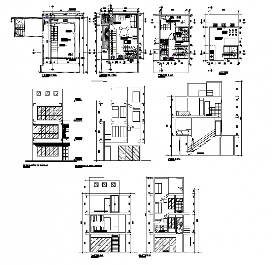 Apartment building structure detail elevation, plan and section layout file