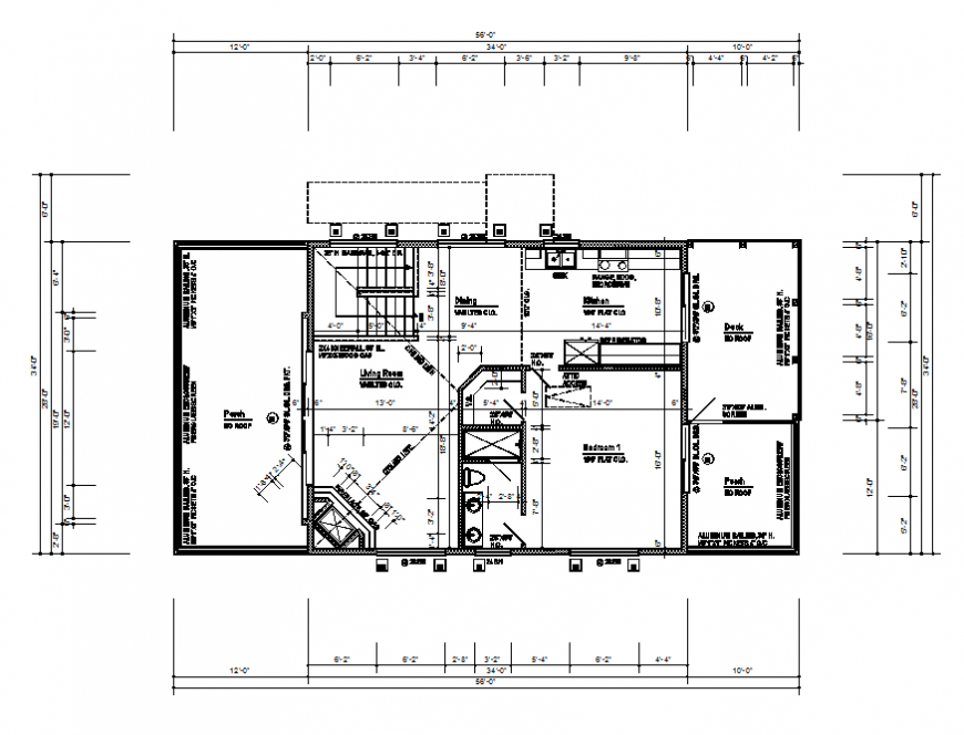 Apartment building third floor framing and layout plan cad drawing details dwg file