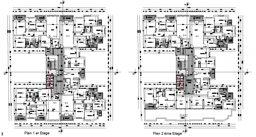 Apartment building unit plan in dwg file.