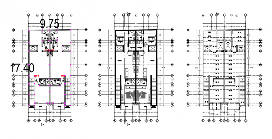 Apartment building with shops floor plan distribution drawing details dwg file
