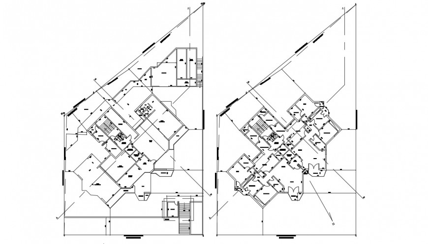 Apartment bulding block plan of 2d drawing of autocad software