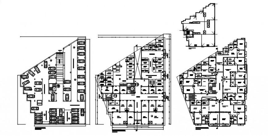 Apartment cum commercial building floor plan distribution plan cad drawing details dwg file