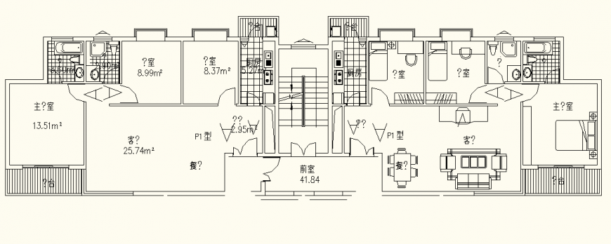 Apartment detail elevation and plan autocad file