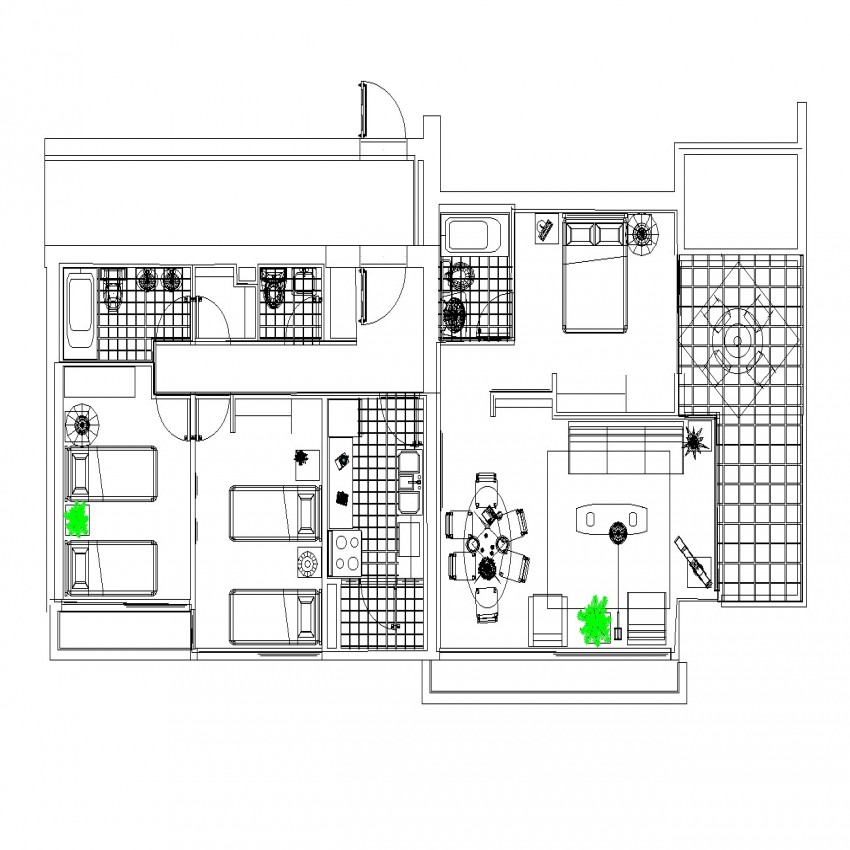 Apartment dormitory detail drawing in dwg file.
