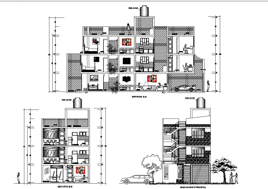 Apartment drawing elevation and section in dwg file.