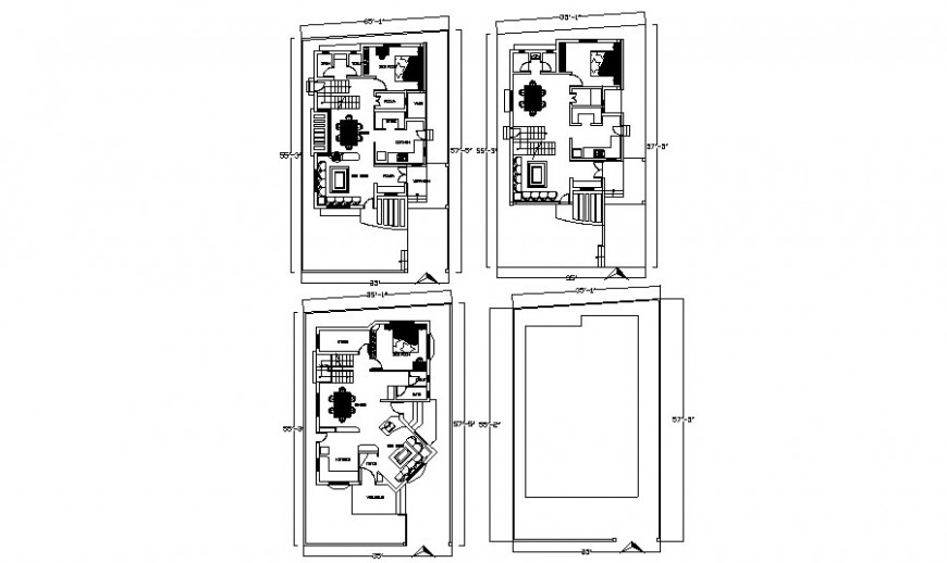 Apartment drawings detail 2d view work plan autocad software file