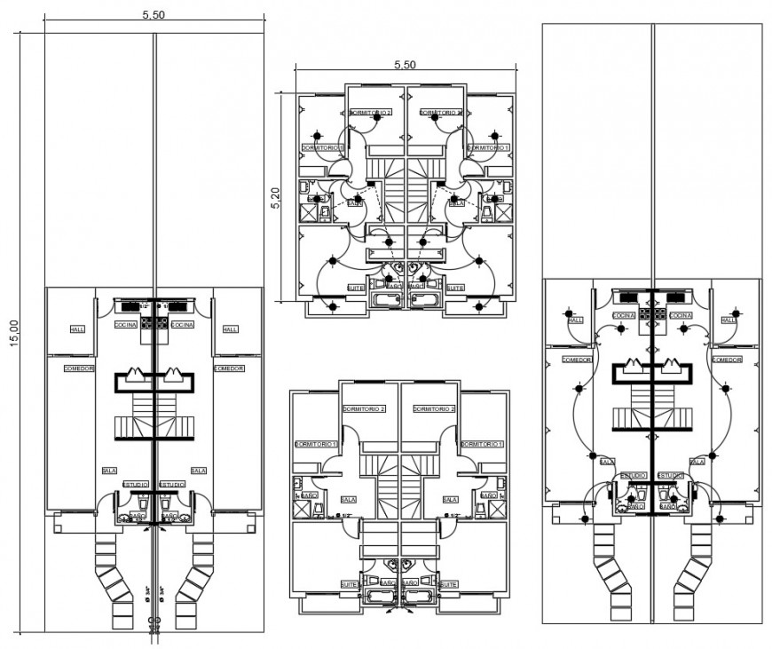 Apartment drawings with electrical installation details 2d view plan dwg autocad software file