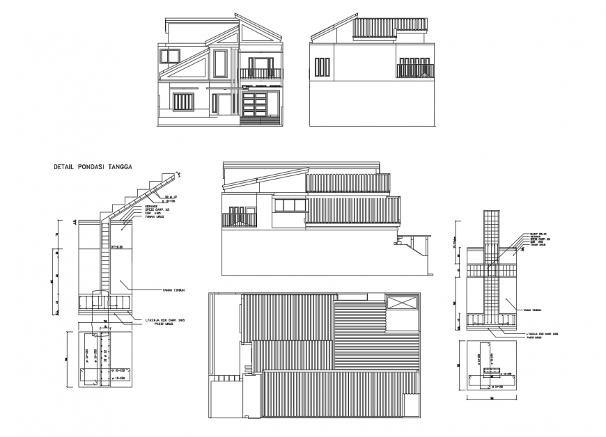 Apartment elevation and column structure 2d view dwg file