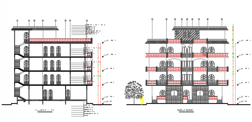 Apartment Elevation design Drawing File