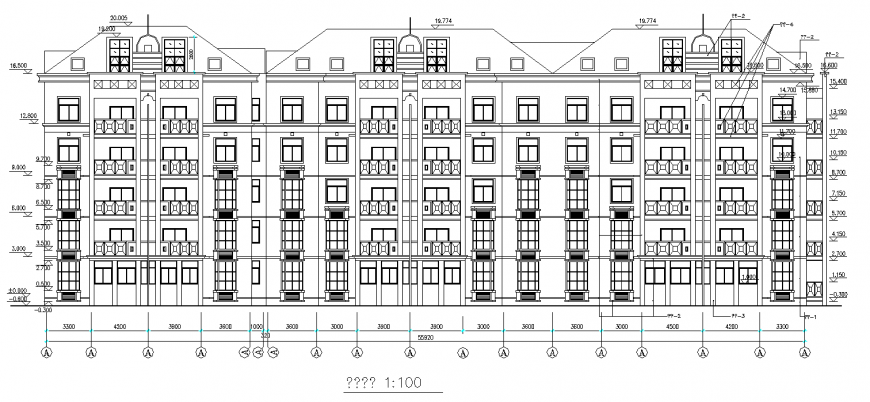Apartment elevation drawing in dwg file.