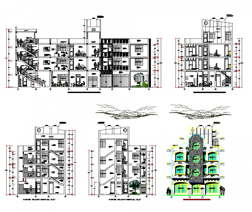 Apartment elevation in different side design dwg file