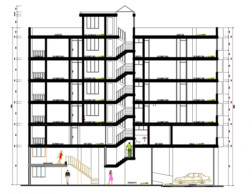 Apartment elevation with architectural design dwg file