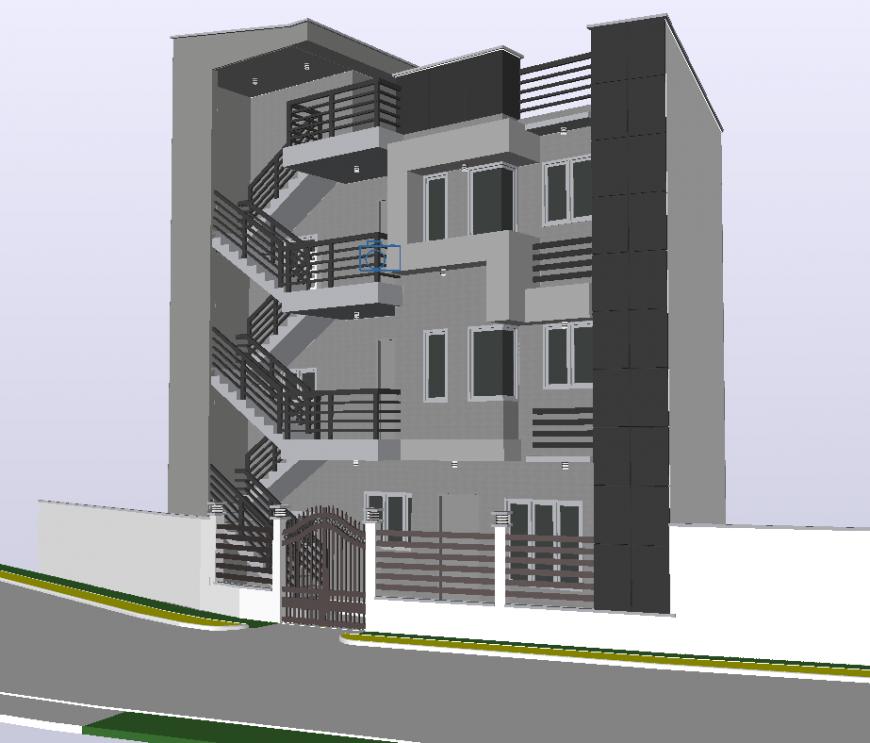 Apartment flat 3 D modal detail dwg file