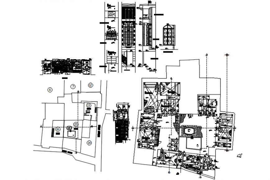 Apartment flat building first floor plan and structure cad drawing details dwg file